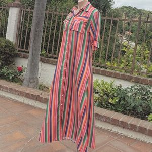 Dresses & Skirts - Long striped multicolored dress sz small
